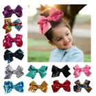 Внешний вид - Wholesale Baby Kid Girl Large Hair Bows Sequin Alligator Clips Headwear 13Colors