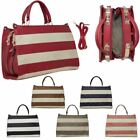 New Ladies Faux Leather Stripe Design Stylish Grab Bag Handbag
