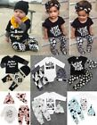 3PCS SET Newborn Baby Kids Girls boys Shirt top Pants hat Clothes outfit INS HOT