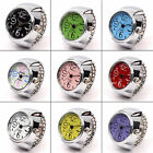 Colorful Unisex Finger Ring Watch Creative Steel Tone Round Dial Elastic Quartz  image