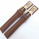 18mm EXTRA LONG DARLENA 1002 PADDED BROWN LEATHER WATCH STRAP  GOLD or SIL