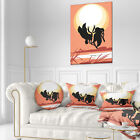 East Urban Home Abstract Birds at Sunset Vector Drawing Throw Pillow