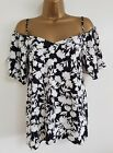 NEW WAREHOUSE 6-16  Cold Shoulder Black & White Floral Print Tunic Top Blouse