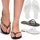 New Womens Ladies Flat Studded Thong Toe Post Sandals Summer Casual Flip Flops