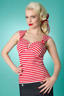 Miss Fortune Red NAUTICAL STRIPE SUN TOP rockabilly print pinup summer retro