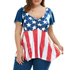 Plus Size Women Patriotic American Flag Ruched Short Sleeve Blouse Tops T-Shirt