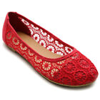 ollio Womens Ballets Shoes Floral Lace Breathable Flats
