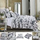 Oversized 100% Cotton Classic Toile Black Reversible Quilt Set Greenland Home