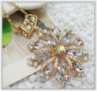 Fashion Crystal flowers Pendant charm Sweater chain necklac EE990