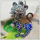 Fashion Crystal Cat Pendant charm Sweater chain necklac EE1012
