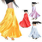 Womens Satin Long Skirt Dress Swing Belly Dance Costumes Multi Color Dancewear