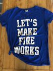 Vicroria Secret Pink Shirt Small Oversized Blue Lets Make Fire Works 4th July