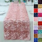 "14"" x 108"" Satin Ribbon Roses Table Runner Dinner Catering Wedding Party Buffet"