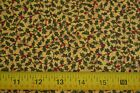 By 1/2 Yd, Green & Red Holly on Yellow Quilting, Chanteclaire/Chirstmas, N1105