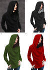 "New Lady Pull Over Neck Hoodie Fashion Cowl Neck Long Sleeve Bust 39""-44"" Black"