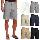 Mens Belted Shorts Cotton Flat Front Slim Fit Casual Lounge Work Golf Pants