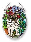 White Gray CAT Sun Catcher Kitten Red Flowers AMIA Hand Painted Glass Soft Purr