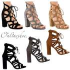 WOMENS NEW LACE UP BLOCK HIGH HEELS SANDALS PARTY SHOES ANKLE HIGH SHOES SIZE