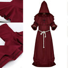 Cosplay Halloween Fancy Costume Adult Monk Priest Friar Outfit Cloak Mens Womens