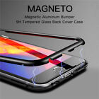 Luxury Magnetic Metal Hard Bumper Case Clear Glass Cover For iPhone X 6 7 8 Plus