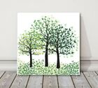 green trees watercolour modern painting printed framed canvas picture