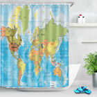 Detailed World Map Countries Shower Curtain Set Waterproof Fabric Bathroom Hooks