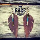 Distressed Feather Leather Earrings w/ Roped Arrows