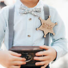 Badge Pin Wooden Ring Bearer Gift for Boy Wedding Accessories