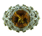 Citrine 4.44 Ct Brown Natural Zircon Cocktail Ring Solid Gold Engagement Jewelry