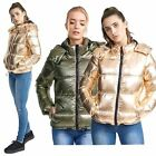 Ladies Pewter Metallic Puffer Padded Bomber Jacket Quilted Hooded Thunder Coat