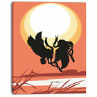 Design Art 'Birds at Sunset Vector Drawing' Graphic Art on Wrapped Canvas
