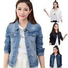 Women Long Sleeve Denim Jeans Coat Casual Slim Vintage Jacket Fashion Outwear