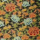 Metallic Gold & Multicolor Flowers on Black by Hoffman, Cotton Per 1/2 Yd or BTY