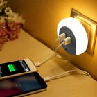 Night Light Plug Lamp Sensor Dual USB Bedside Wall LED Lightss Plate Charger XG