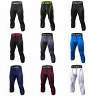 Men's Fitness Compression Tight Base Layer Sport Gym Trousers 3/4 Pants Leggings