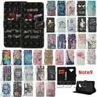 For Samsung Note 9 phone case pu leather flip wallet cover cute patterns strap