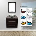 "24"" Bathroom Wall Mount Vanity Cabinet Vessel Glass Ceramic Sink Shelf Drain Set"