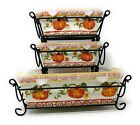 Temp-tations 3 Loaf Pan Set w/ Covers & Racks 1.75 Quart & 2 @ 12oz K46094 NIB