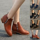 Fashion Womens Warm Ankle Boots Faux Suede Square Chunky Mid Heel Platforms Boot