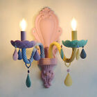 Innovative LED Sconce Colorful Glass Metal Scroll Double-Lig