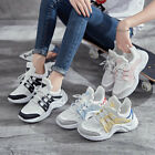Women's Mesh Lace Up Sneakers Old Father Shoes Sports Platform Flats Fashion New