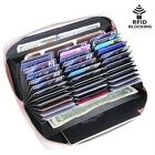 Mens/Womens Leather Large Capacity Credit ID Card Holder RFID Blocking Wallet