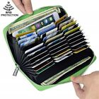 Mens/Womens Leather Large Capacity Credit ID Card Holder RFID Blocking Wallet image