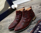 Men's Ankle Boots Dress Formal Flats British Snakeskin Pleated Shoes Slip On S33