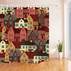 """Colorful House Shower Curtain Bathroom Waterproof Polyester Fabric 71"""" 12hooks"""