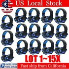 LOT 1~15X Blue Game Headset Surround Stereo Headband Headphone USB 3.5mm LED SW