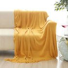 """Soft Throw Blanket Warm Knit Textured Solid for Bed Sofa Couch Washable 50 x 60"""""""
