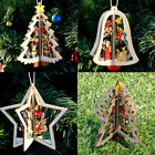 3D Xmas Tree Pendant Hanging Decoration Bauble Wooden Christmas Home Party Decor
