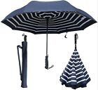 "46"" Arc, Auto Inverted Inside-Out Upside Down Navy Stripe Umbrella-RainStoppers"