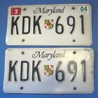 2004 Maryland License Plates matched pair nice originals